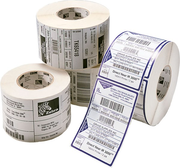 Afbeelding van POLYETHYLENE - 105X105MM - THERMAL TRANSFER - COATED - PERMANENT ADHESIVE - 25MM CORE.
